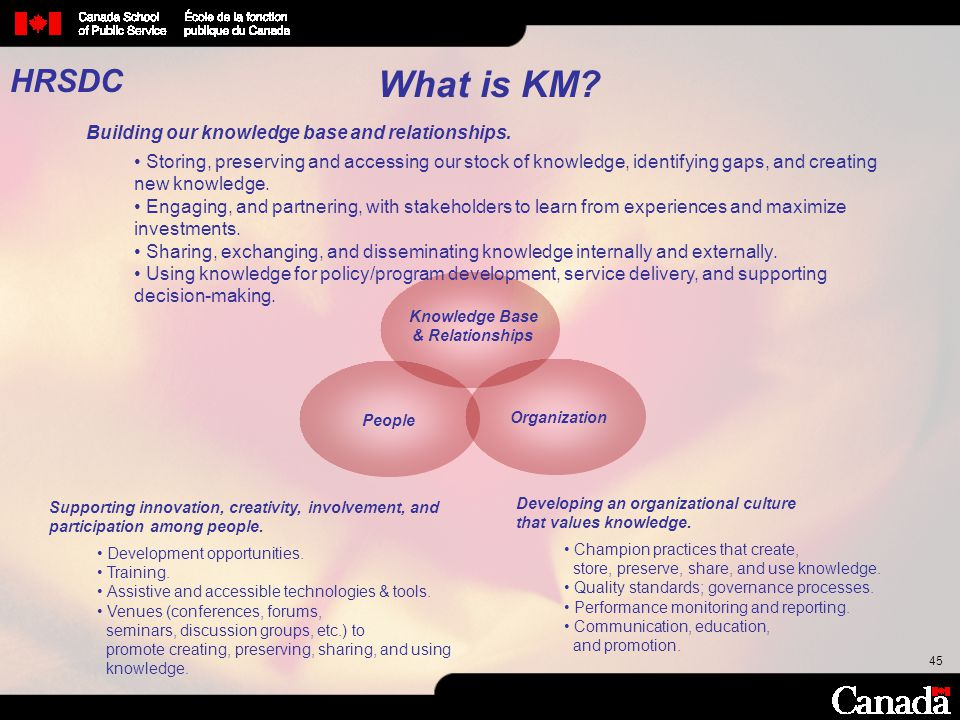 45 What is KM? Knowledge Base & Relationships People Organization Supporting innovation, creativity, involvement, and participation among people. Deve