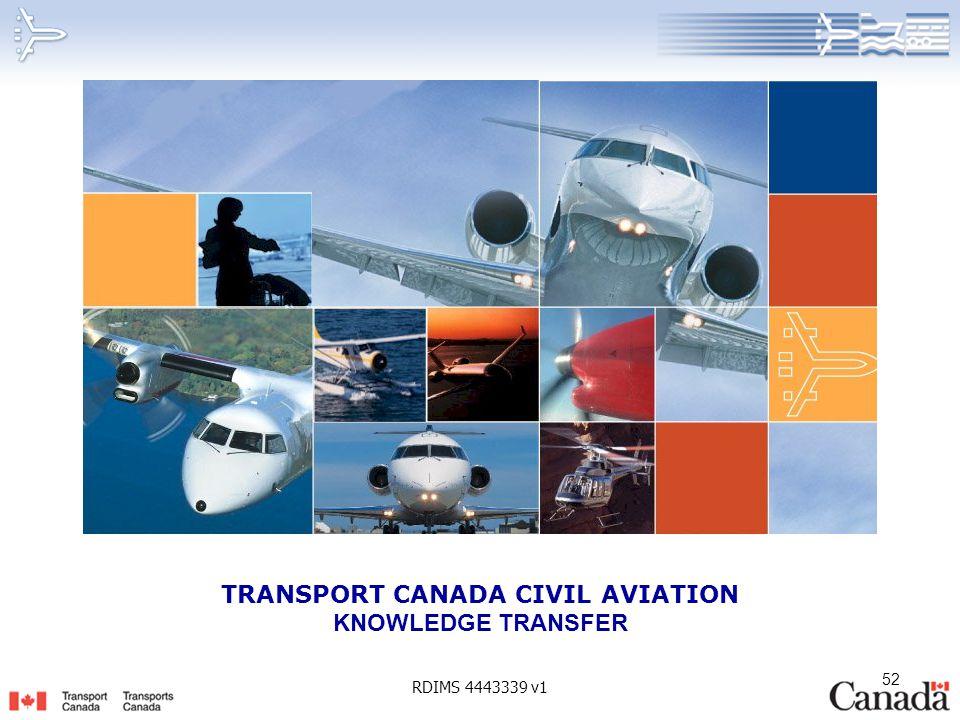 52 TRANSPORT CANADA CIVIL AVIATION KNOWLEDGE TRANSFER RDIMS 4443339 v1