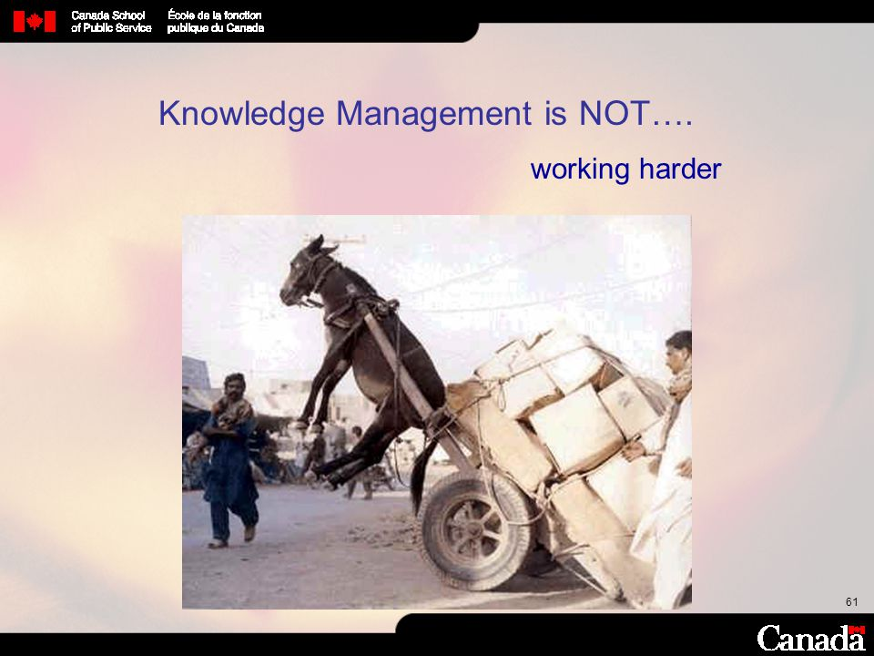 61 Knowledge Management is NOT…. working harder