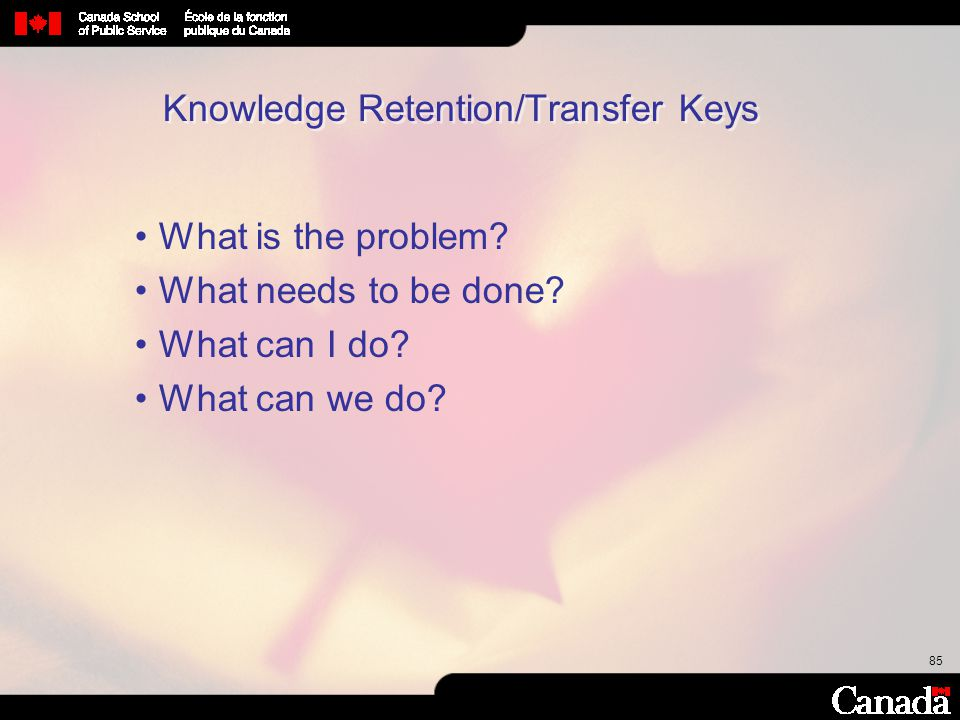85 Knowledge Retention/Transfer Keys What is the problem? What needs to be done? What can I do? What can we do?
