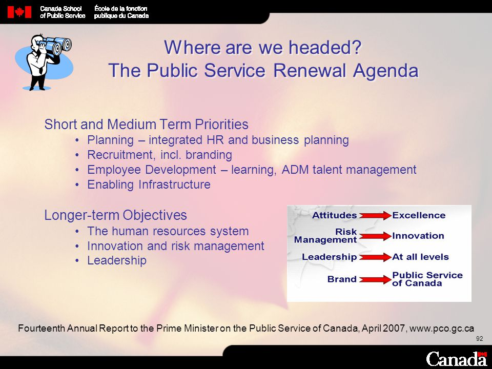 92 Where are we headed? The Public Service Renewal Agenda Short and Medium Term Priorities Planning – integrated HR and business planning Recruitment,