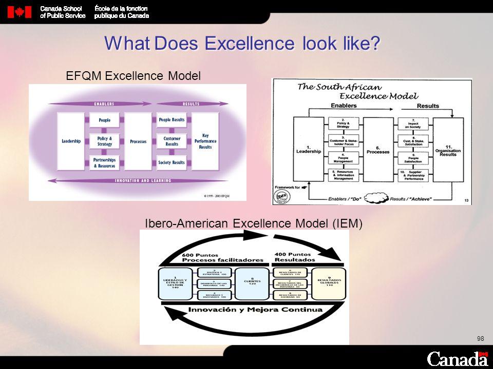 98 Ibero-American Excellence Model (IEM) EFQM Excellence Model What Does Excellence look like?