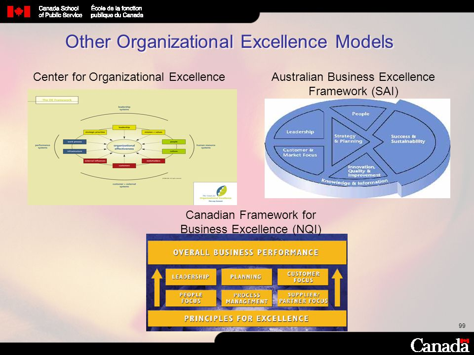 99 Canadian Framework for Business Excellence (NQI) Australian Business Excellence Framework (SAI) Center for Organizational Excellence Other Organiza