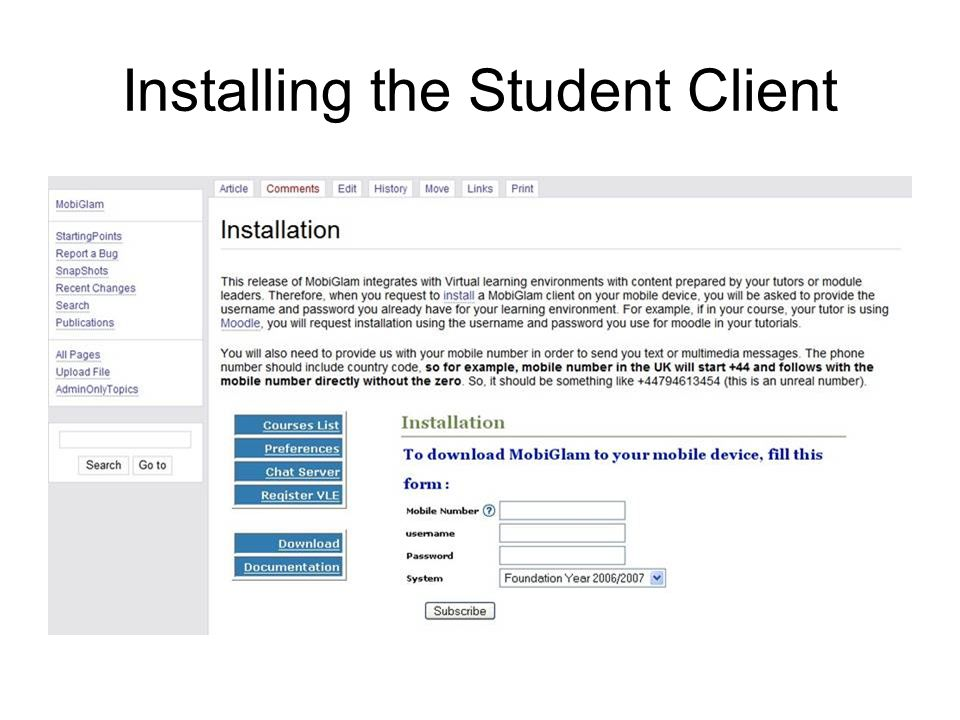 Installing the Student Client