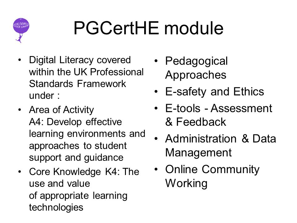 PGCertHE module Digital Literacy covered within the UK Professional Standards Framework under : Area of Activity A4: Develop effective learning environments and approaches to student support and guidance Core Knowledge K4: The use and value of appropriate learning technologies Pedagogical Approaches E-safety and Ethics E-tools - Assessment & Feedback Administration & Data Management Online Community Working
