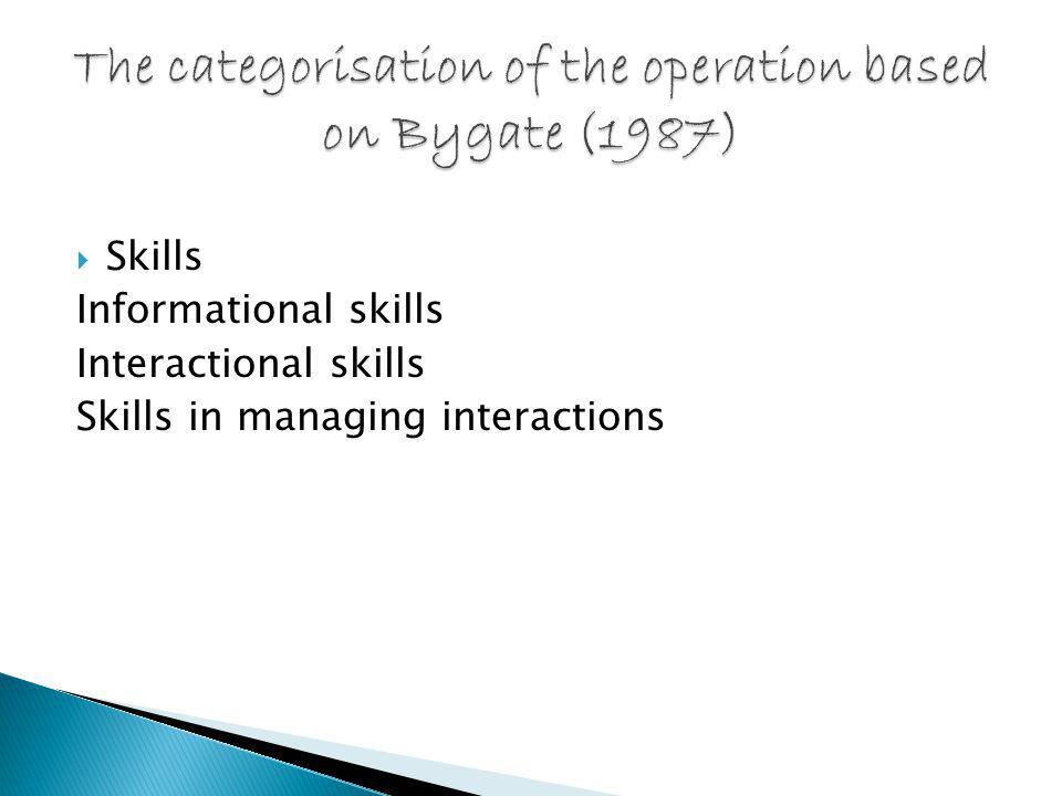  Skills Informational skills Interactional skills Skills in managing interactions