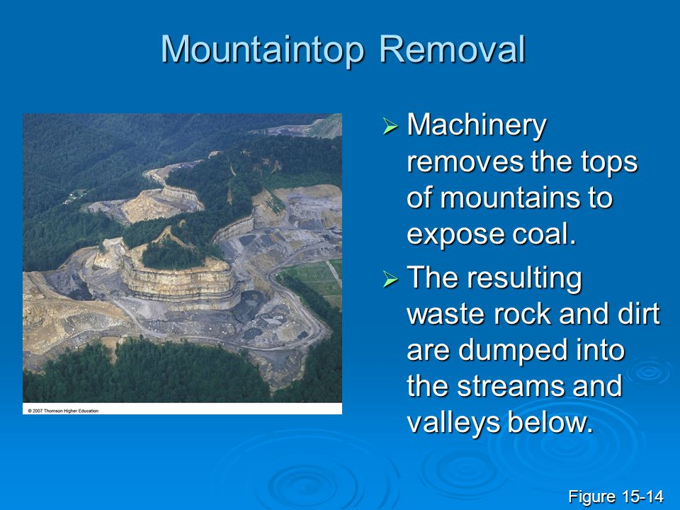 Mountaintop Removal  Machinery removes the tops of mountains to expose coal.  The resulting waste rock and dirt are dumped into the streams and vall