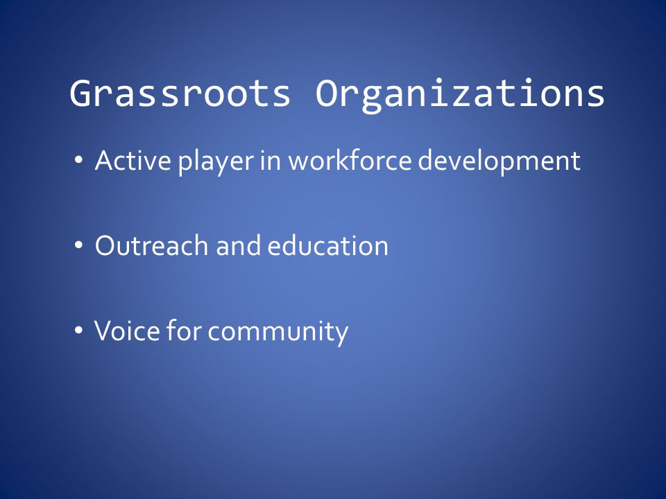 Grassroots Organizations Active player in workforce development Outreach and education Voice for community