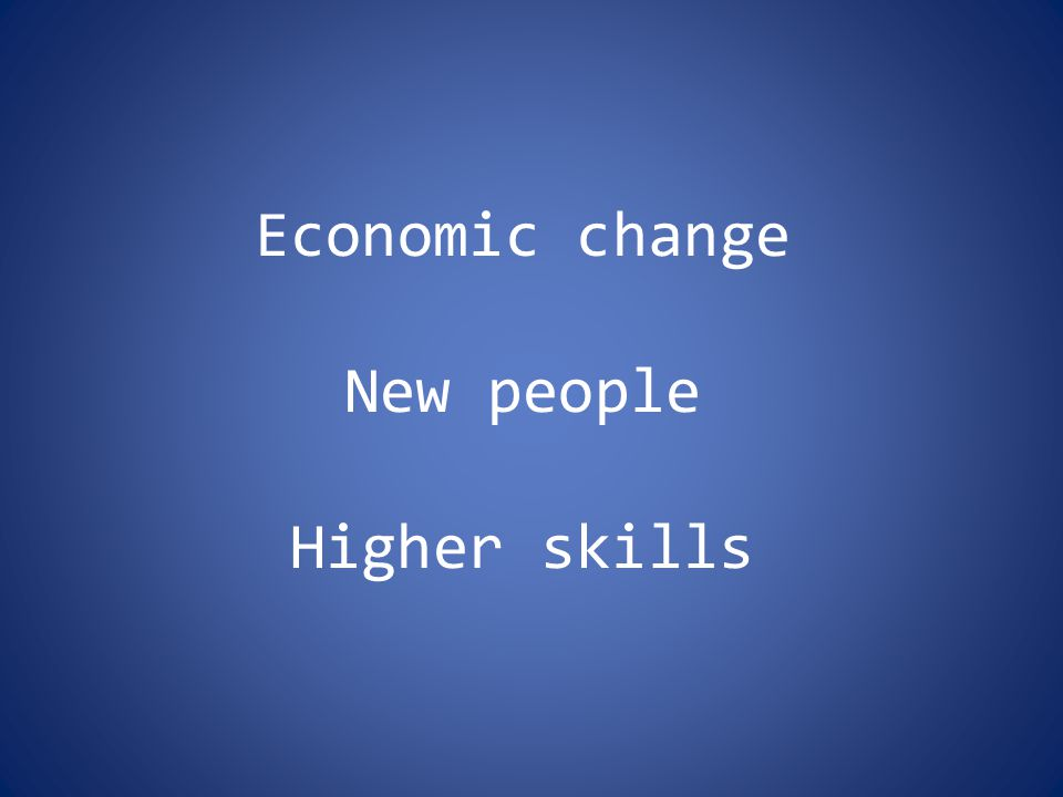 Economic change New people Higher skills