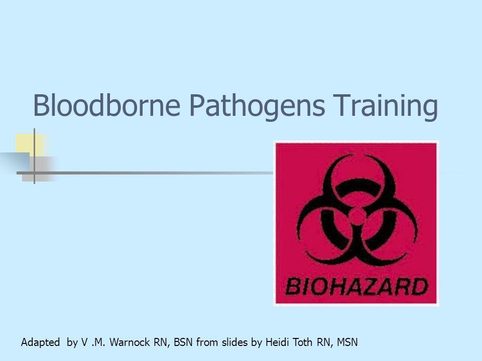 Bloodborne Pathogens Training Adapted by V.M. Warnock RN, BSN from slides by Heidi Toth RN, MSN