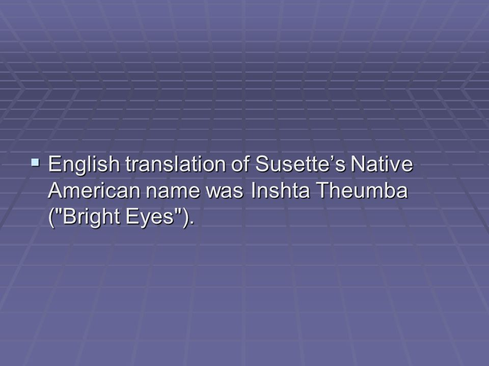  English translation of Susette's Native American name was Inshta Theumba ( Bright Eyes ).