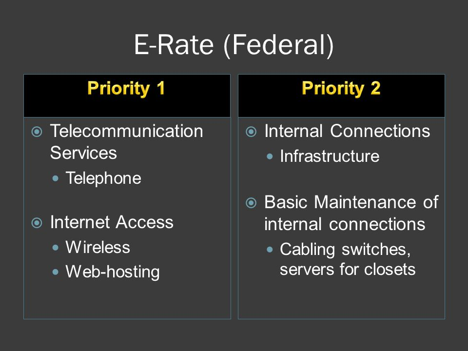 E-Rate (Federal)  Telecommunication Services Telephone  Internet Access Wireless Web-hosting  Internal Connections Infrastructure  Basic Maintenance of internal connections Cabling switches, servers for closets