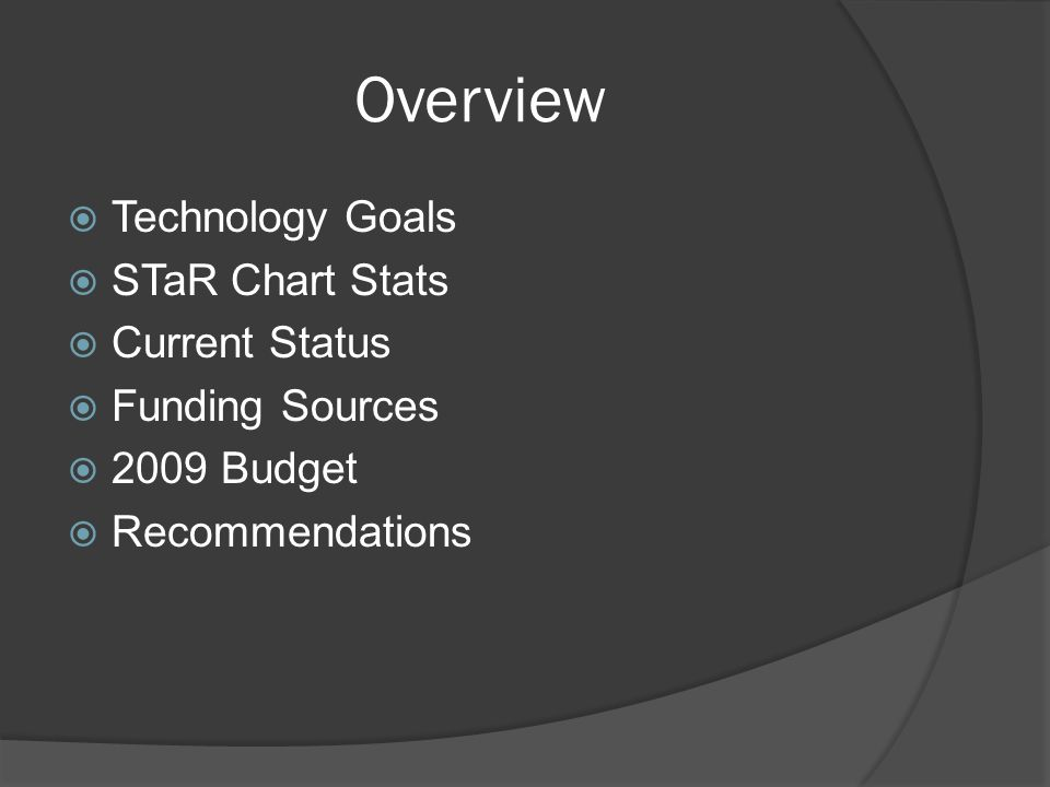 Overview  Technology Goals  STaR Chart Stats  Current Status  Funding Sources  2009 Budget  Recommendations