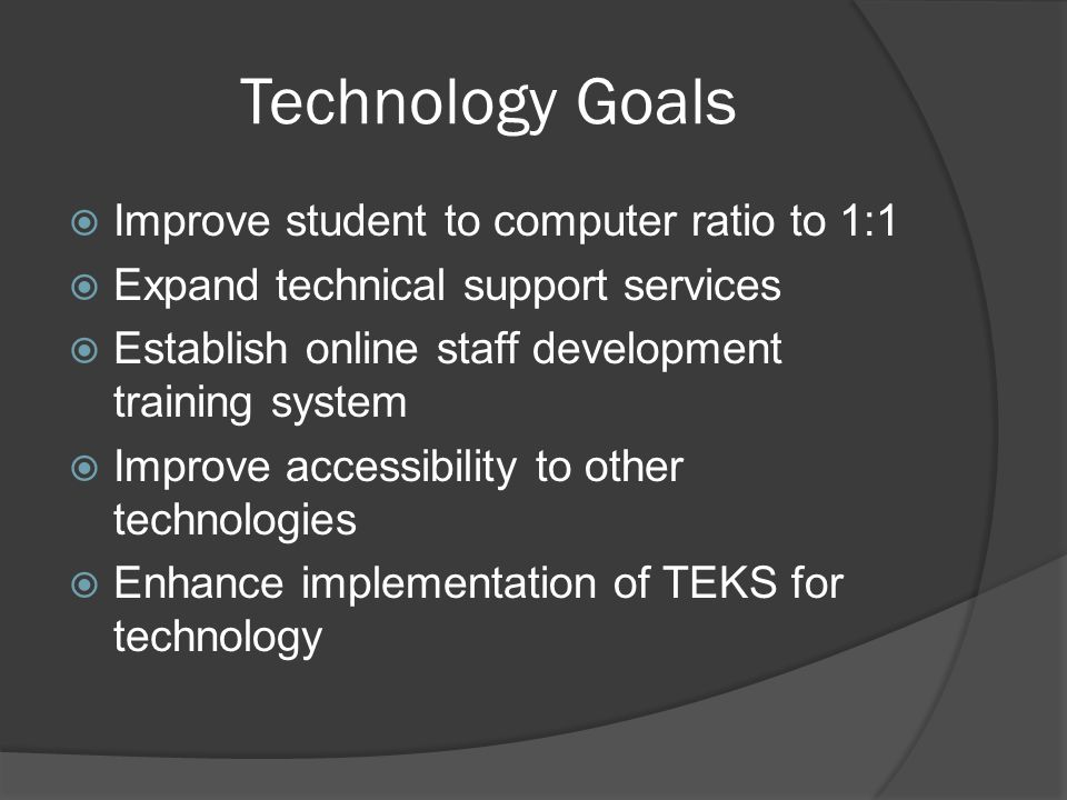 Recommendations  Allow ALL teachers at least 1 Staff Development  Community training on technology  Maintain a centralized budget  Utilize funds appropriately