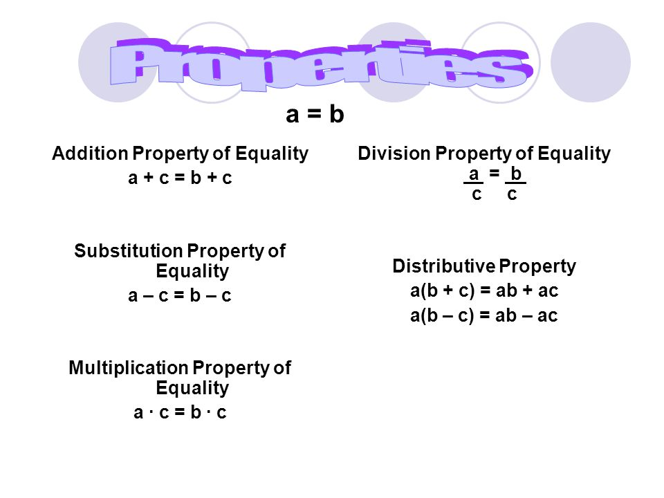 Addition Property of Equality a + c = b + c If 10 = 6 + 4, then 10 + 2 = 6 + 4 + 2 Substitution Property of Equality a – c = b – c If 10 = 6 + 4, then 10 – 2 = 6 + 4 – 2 Multiplication Property of Equality a ∙ c = b ∙ c If 2 ∙ 6 = 12, then 2 ∙ 6 ∙ 5 = 12 ∙ 5 Division Property of Equality a = b c c If 5 + 1 = 6, then 5 + 1 = 6 2 2 Distributive Property a(b + c) = ab + ac a(b – c) = ab – ac If 3(4 + 1), then 3(4) + 3(1)