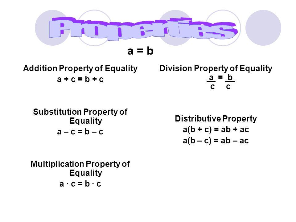 Addition Property of Equality a + c = b + c Substitution Property of Equality a – c = b – c Multiplication Property of Equality a ∙ c = b ∙ c Division Property of Equality a = b c c Distributive Property a(b + c) = ab + ac a(b – c) = ab – ac a = b