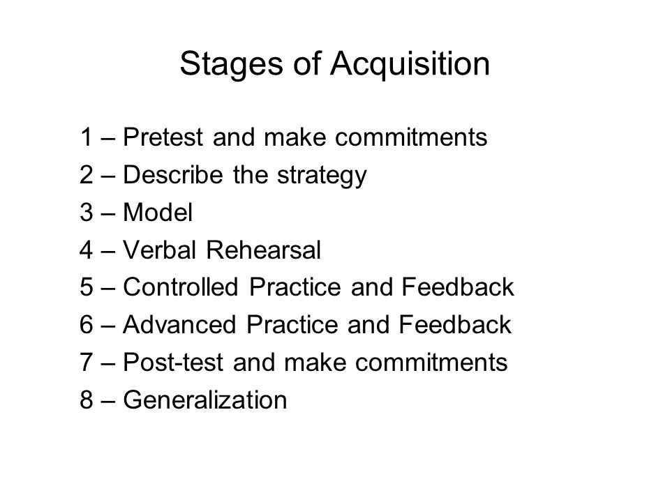 Stages of Acquisition 1 – Pretest and make commitments 2 – Describe the strategy 3 – Model 4 – Verbal Rehearsal 5 – Controlled Practice and Feedback 6 – Advanced Practice and Feedback 7 – Post-test and make commitments 8 – Generalization