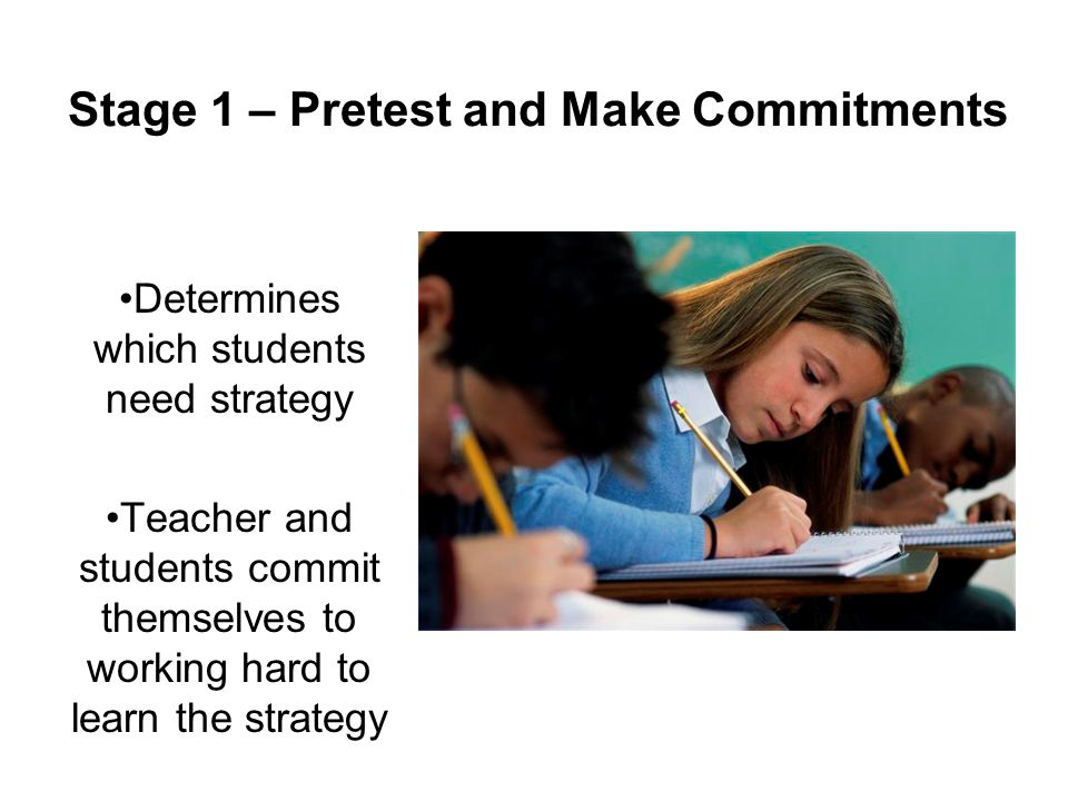 Stage 1 – Pretest and Make Commitments Determines which students need strategy Teacher and students commit themselves to working hard to learn the strategy