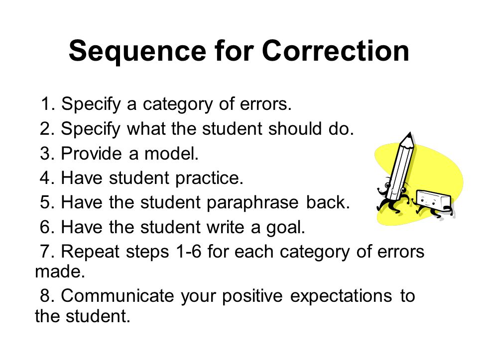 Sequence for Correction 1.Specify a category of errors.