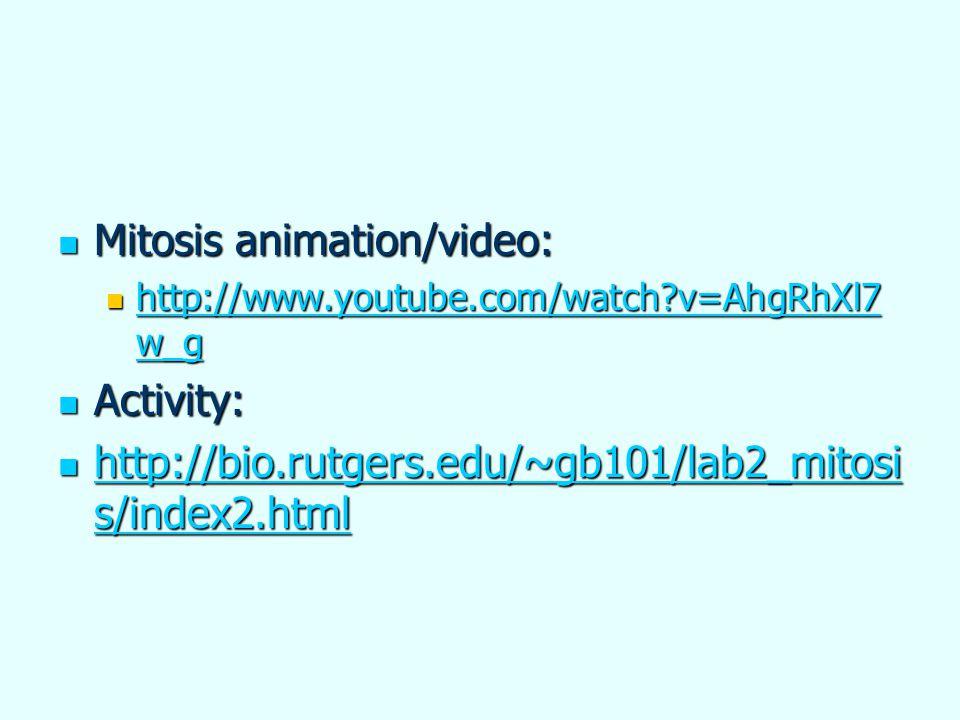 Mitosis animation/video: Mitosis animation/video: http://www.youtube.com/watch?v=AhgRhXl7 w_g http://www.youtube.com/watch?v=AhgRhXl7 w_g http://www.y