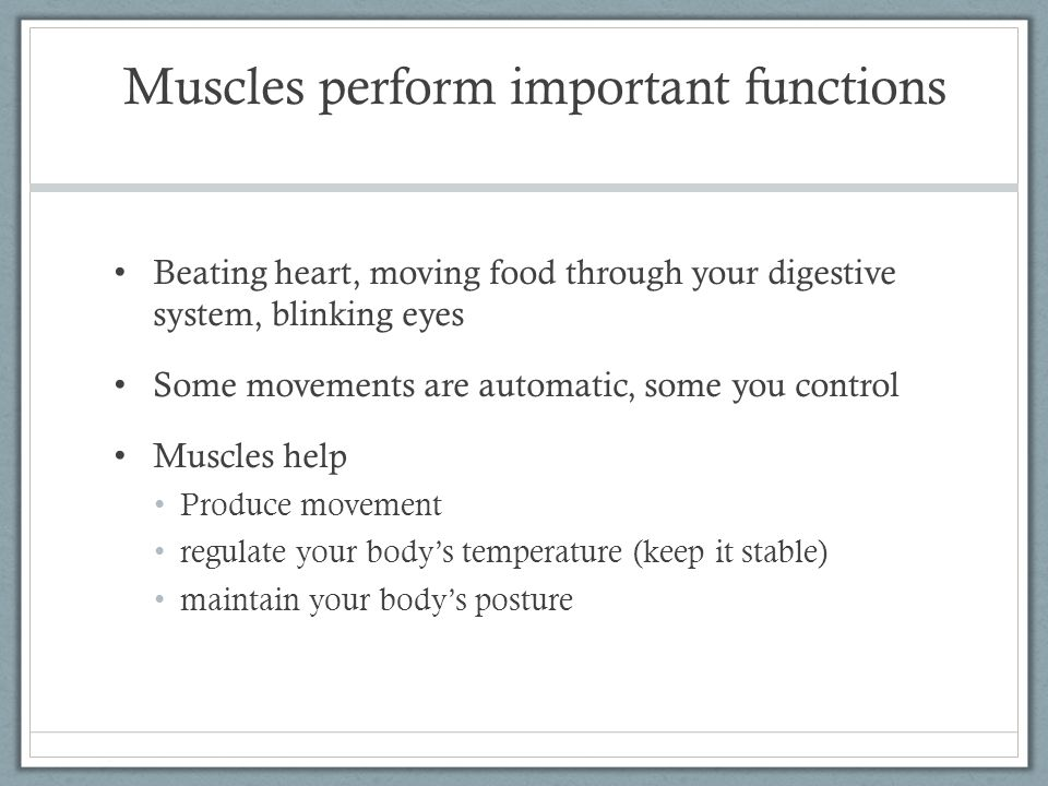 Muscles perform important functions Beating heart, moving food through your digestive system, blinking eyes Some movements are automatic, some you con
