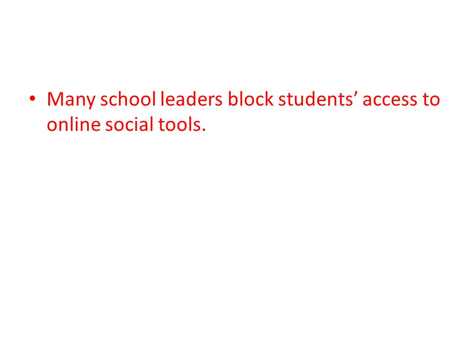 Many school leaders block students' access to online social tools.