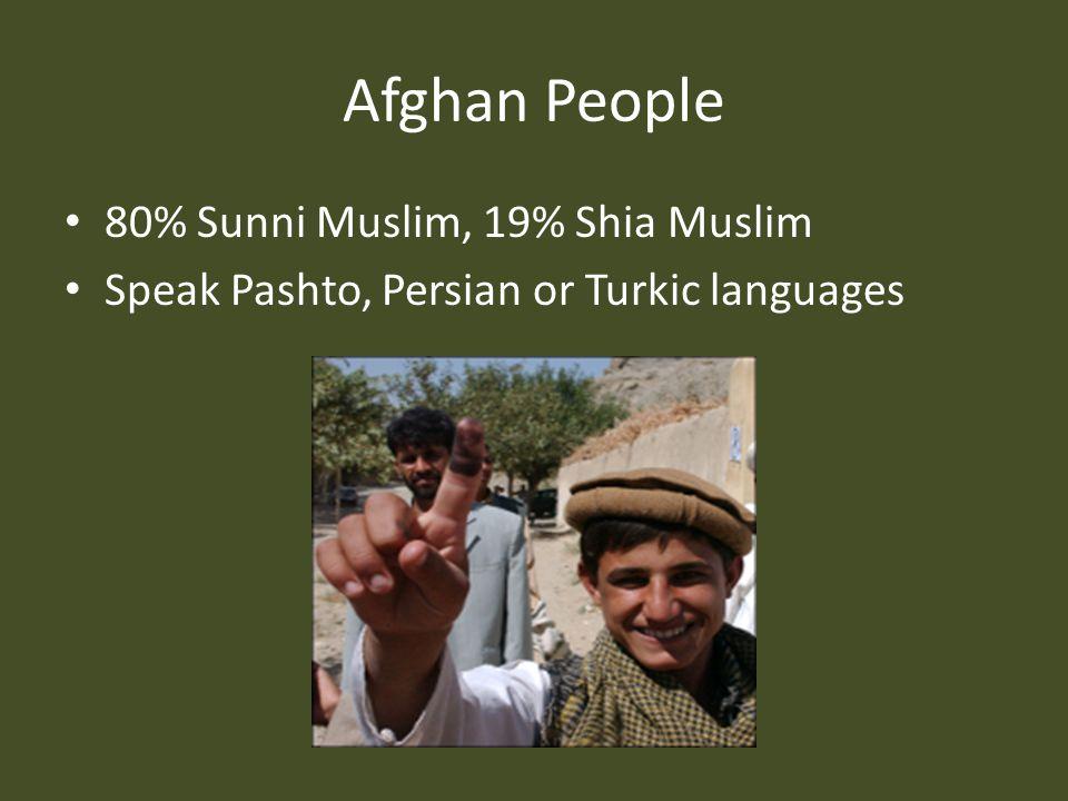 Afghan People 80% Sunni Muslim, 19% Shia Muslim Speak Pashto, Persian or Turkic languages