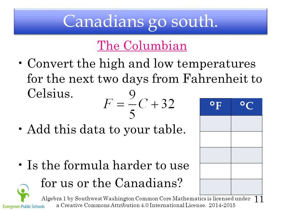 11 Canadians go south.