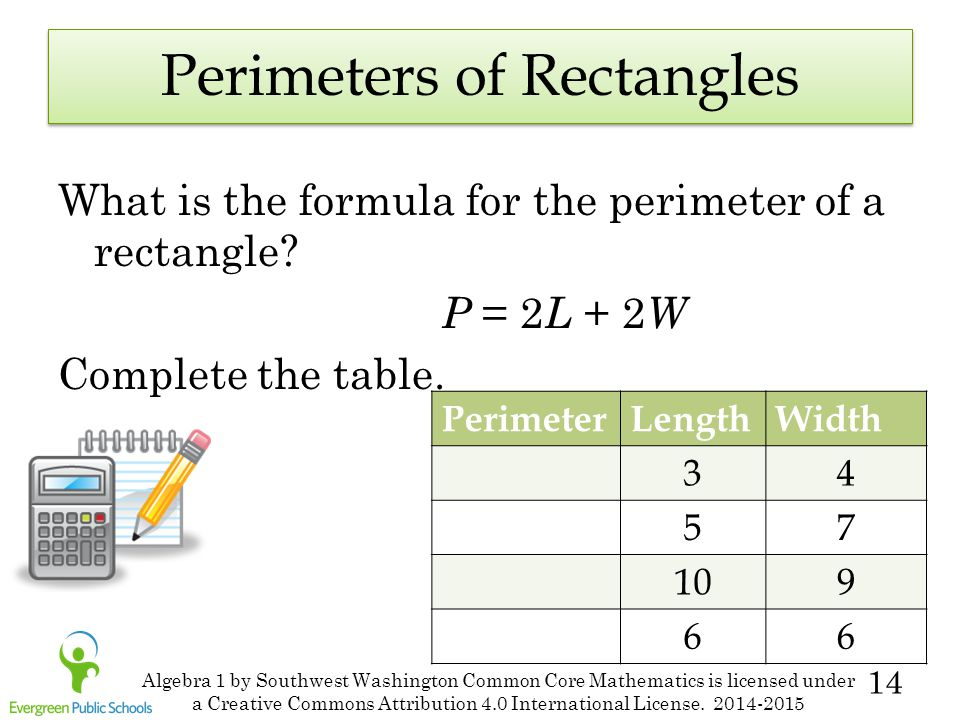 14 Perimeters of Rectangles What is the formula for the perimeter of a rectangle? P = 2 L + 2 W Complete the table. PerimeterLengthWidth 34 57 109 66