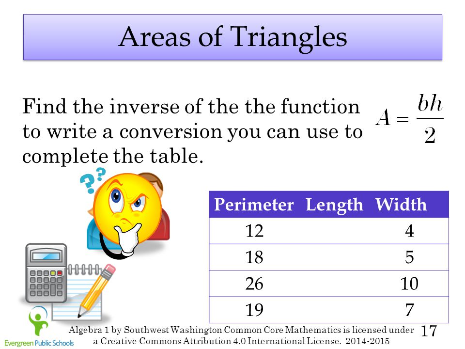 17 Areas of Triangles Find the inverse of the the function to write a conversion you can use to complete the table. PerimeterLengthWidth 124 185 2610