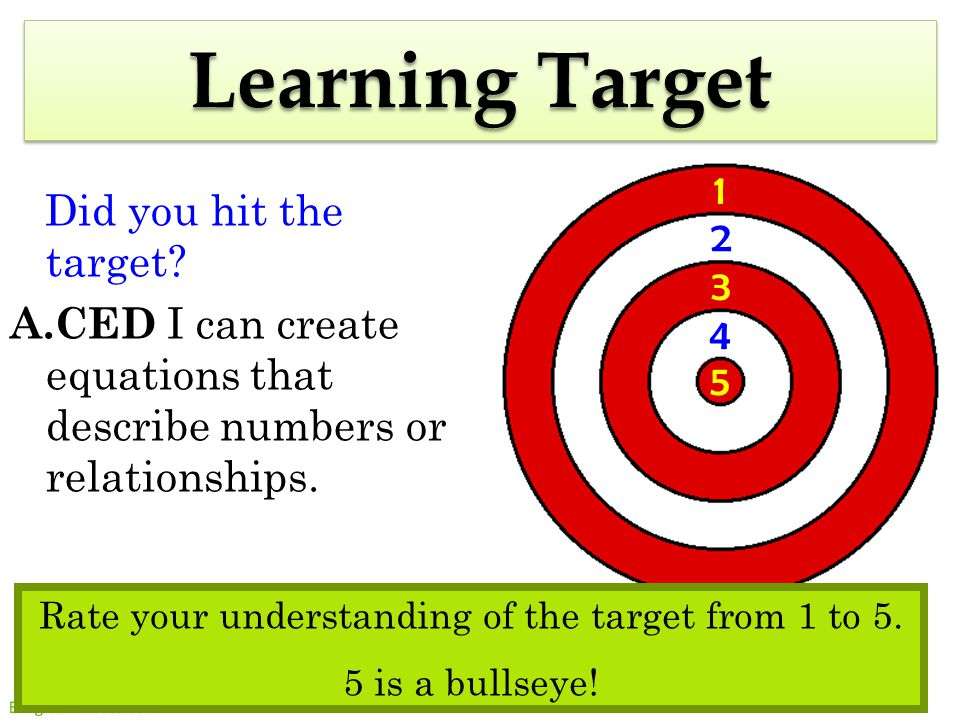 20 5 3 1 2 4 Learning Target Did you hit the target.