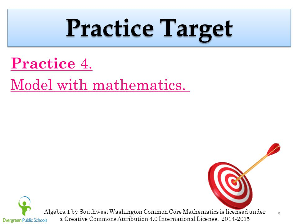 3 Practice Target Practice 4. Model with mathematics. Algebra 1 by Southwest Washington Common Core Mathematics is licensed under a Creative Commons A