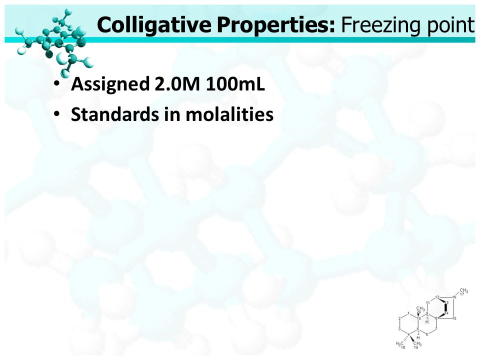 Colligative Properties: Freezing point Assigned 2.0M 100mL Standards in molalities
