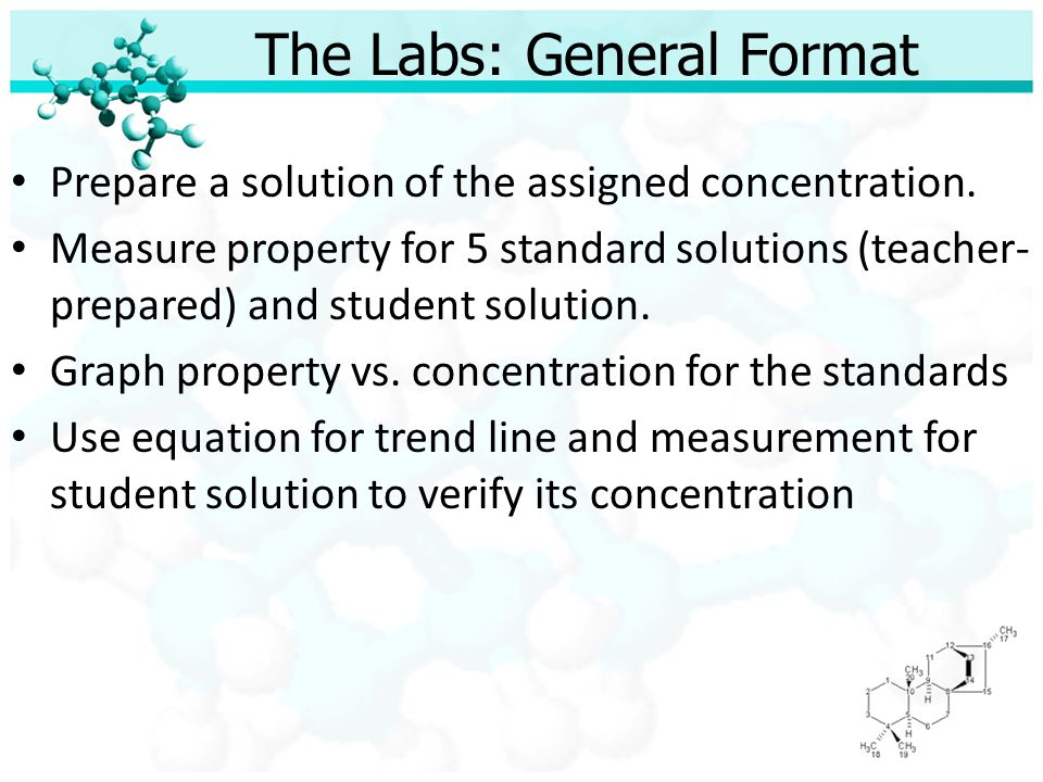 The Labs: Documentation Data Tables Standards graphs – Trend line – Correlation value (R 2 ) Calculations – Verification of student solution concentration – % error