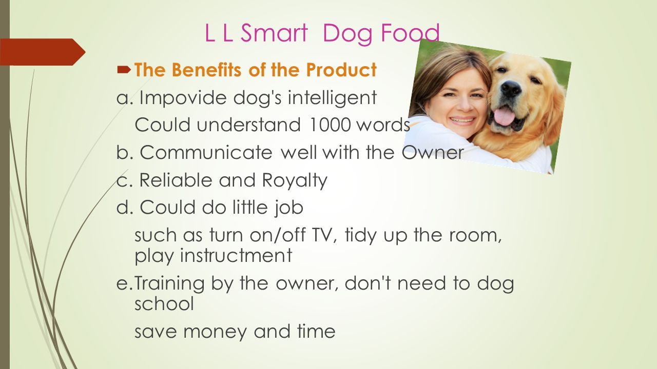 L L Smart Dog Food  Why you choose our product  Exculsive and newly developed by prove  Make by Transgenic  Be proud of you dog more smart than normal  Increase you intrested to having dog