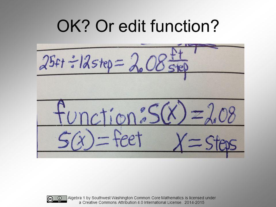 OK. Or edit function.