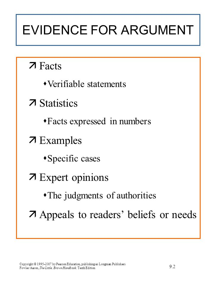 Copyright © 1995–2007 by Pearson Education, publishing as Longman Publishers Fowler/Aaron, The Little, Brown Handbook, Tenth Edition EXERCISE Finding a subject for argument 7.5a Explain why each subject below is or is not appropriate for argument.