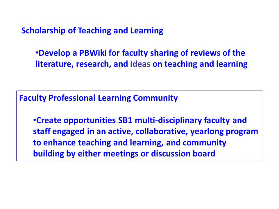 Scholarship of Teaching and Learning Develop a PBWiki for faculty sharing of reviews of the literature, research, and ideas on teaching and learning The Scholarship of Teaching and Learning is a growing movement in post- secondary education.