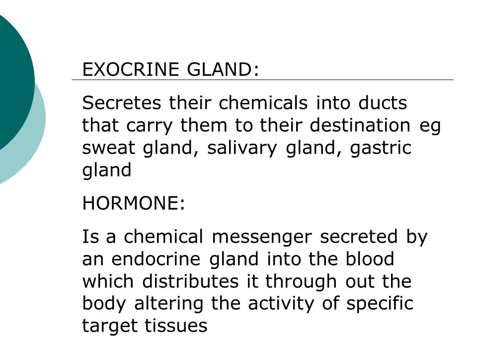 EXOCRINE GLAND: Secretes their chemicals into ducts that carry them to their destination eg sweat gland, salivary gland, gastric gland HORMONE: Is a c