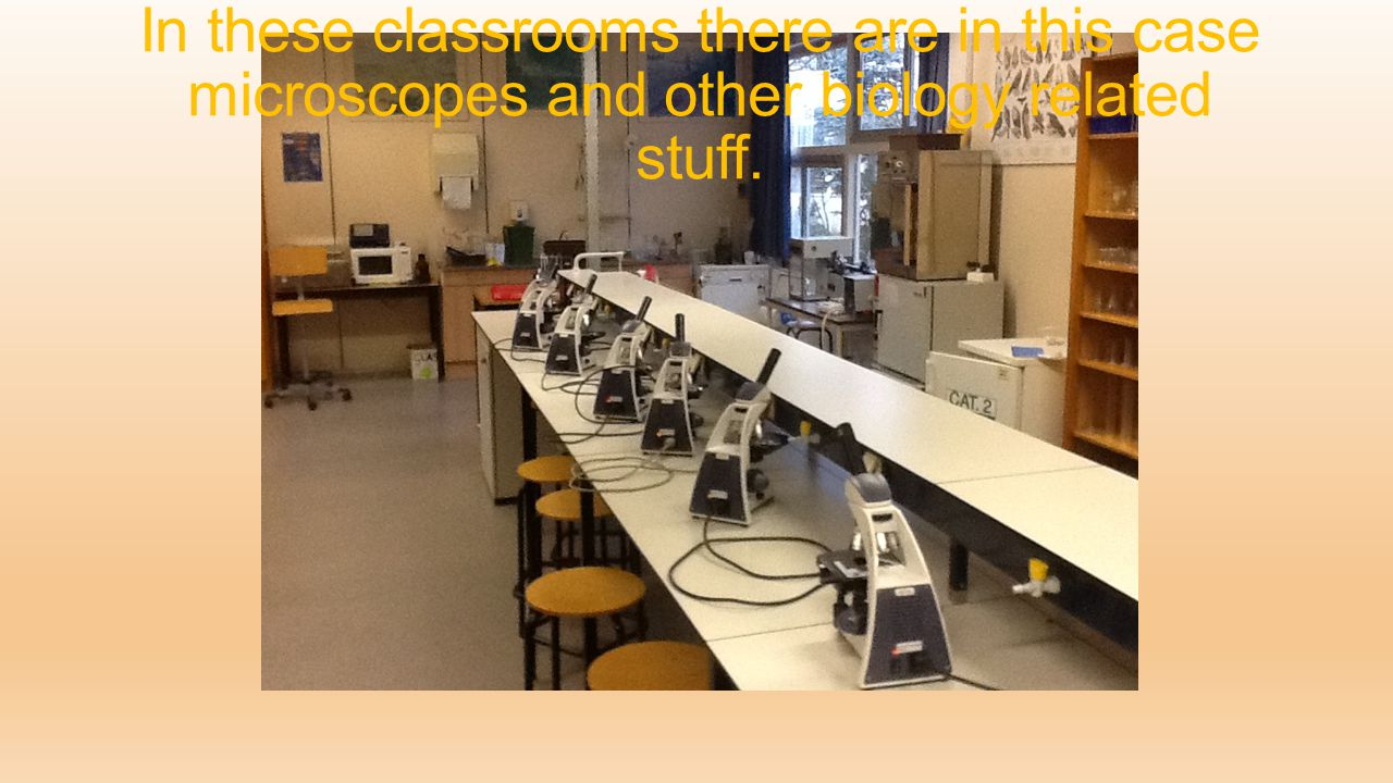 In these classrooms there are in this case microscopes and other biology related stuff.