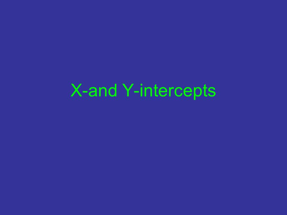 X-and Y-intercepts