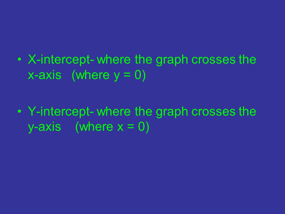 X-intercept- where the graph crosses the x-axis (where y = 0) Y-intercept- where the graph crosses the y-axis (where x = 0)