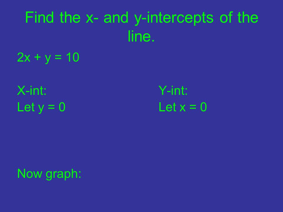 Find the x- and y-intercepts of the line. 2x + y = 10 X-int:Y-int: Let y = 0Let x = 0 Now graph: