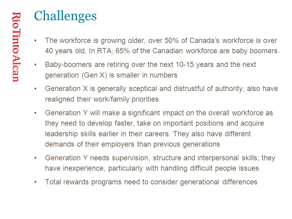 Challenges The workforce is growing older, over 50% of Canada's workforce is over 40 years old.