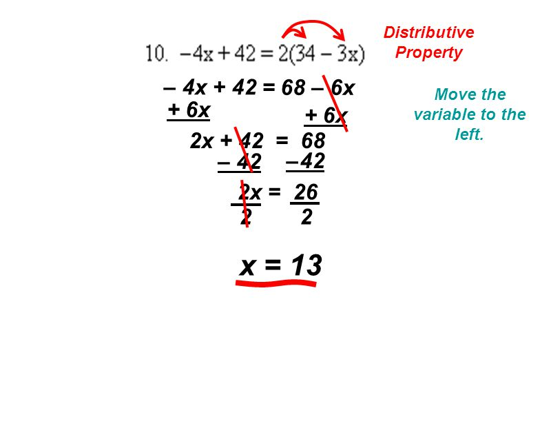 Distributive Property = 68 – 6x – 4x + 42 Move the variable to the left.