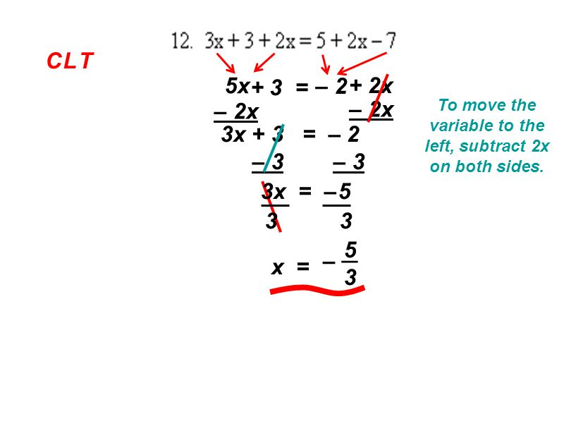 C L TC L T 5x + 3 = – 2 + 2x To move the variable to the left, subtract 2x on both sides.