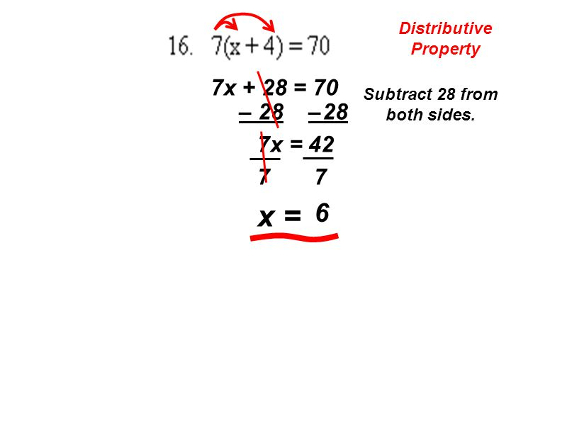 Distributive Property 7x + 28 = 70 Subtract 28 from both sides. – 28 7x = 42 7 7 x = 6