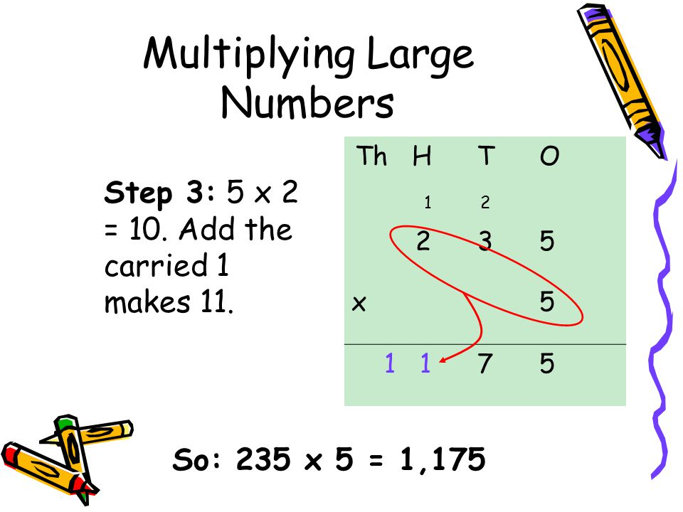 Multiplying Large Numbers Step 3: 5 x 2 = 10.Add the carried 1 makes 11.