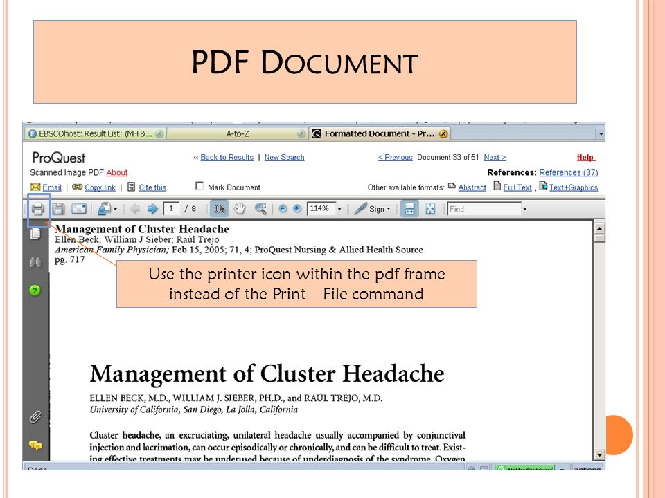 PDF D OCUMENT Use the printer icon within the pdf frame instead of the Print—File command