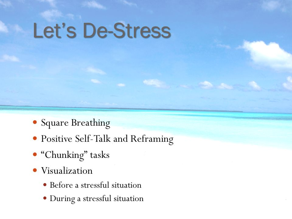 Let's De-Stress Square Breathing Positive Self-Talk and Reframing Chunking tasks Visualization Before a stressful situation During a stressful situation